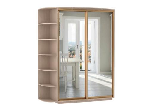 2-х дверный, корпус Дуб молочный, двери зеркало