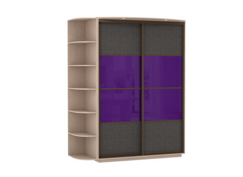 2-х дверный, корпус Дуб молочный, двери экокожа, стекло