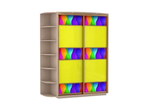 2-х дверный, корпус Дуб молочный, двери желтое стекло, фотовставки