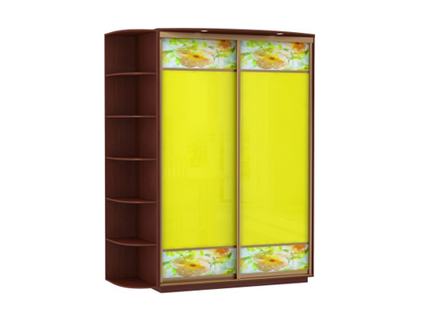 2-х дверный, корпус орех Мария-Луиза, двери стекла желтые, фотовставки