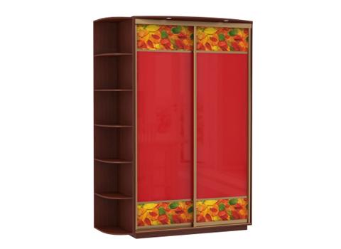 2-х дверный, корпус орех Мария-Луиза, двери стекла красные, фотовставки