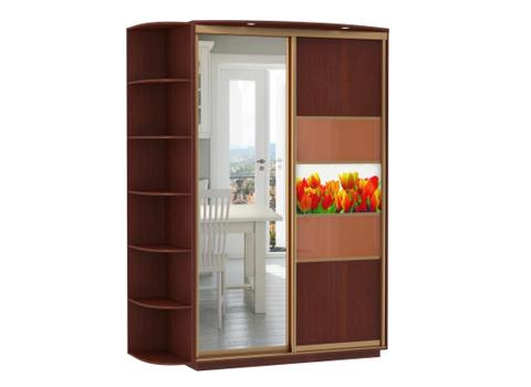 2-х дверный, корпус Орех Мария Луиза, двери зеркало, ДСП, стекло, фотовставки