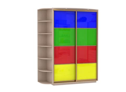 2-х дверный, корпус Дуб молочный, двери стекло цветное