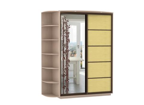 2-х дверный, корпус Дуб молочный, двери зеркало с аппликацией, бамбук