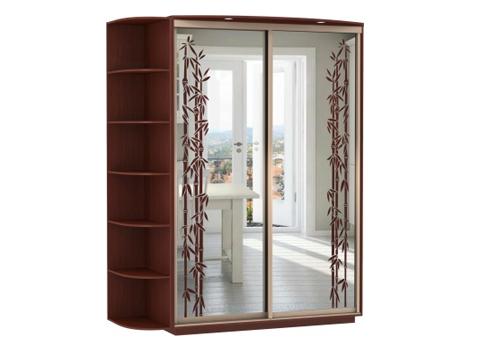 2-х дверный, корпус Орех Мария Луиза, двери зеркало с аппликацией