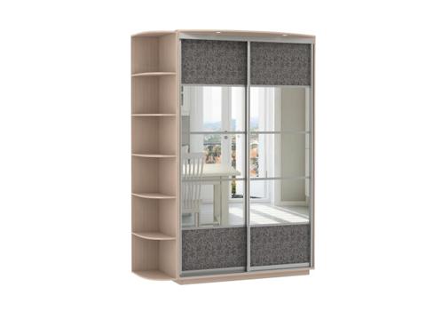 2-х дверный, корпус Дуб молочный, двери зеркало, экокожа