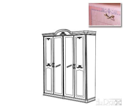 Шкаф ДЕКАПЕ 4-х дверный с 2-я зеркалами (Серия №3 ДЕКАПЕ)