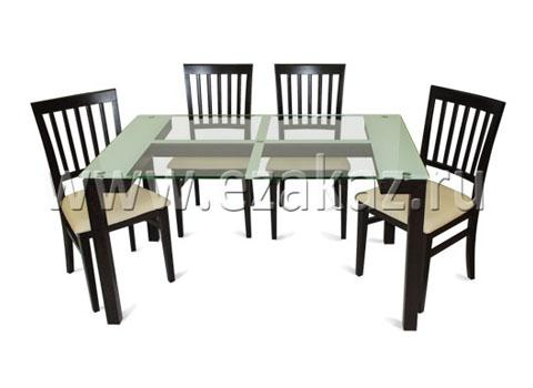 Комплект- Cтол CT201+ 4 стула CC202W