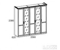 ШКАФ А3110 5-и дверный + 2 зеркала Image 1