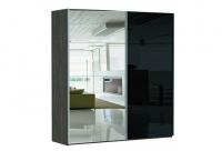 2-х дверный зеркало/стекло черное Image 1