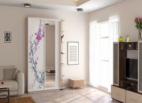 2-х дверный, корпус Дуб молочный, двери стекло белое с зеркалом, фотопечать № 539 Image 2
